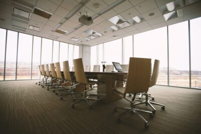 Office conference room after Houston building cleaning